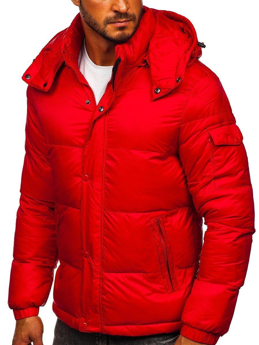 Levně Červená pánská prošívaná zimní bunda Bolf 1161