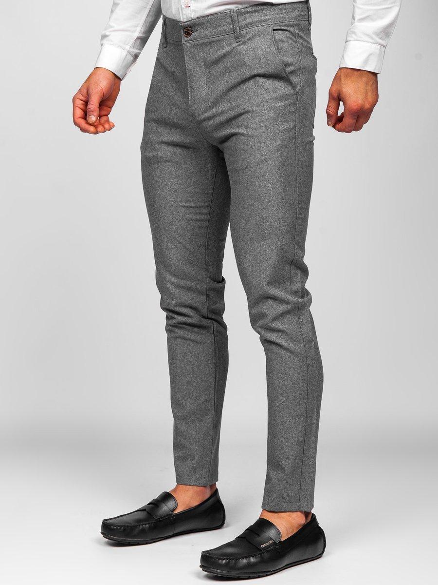 Levně Šedé pánské textilní chino kalhoty Bolf 0016