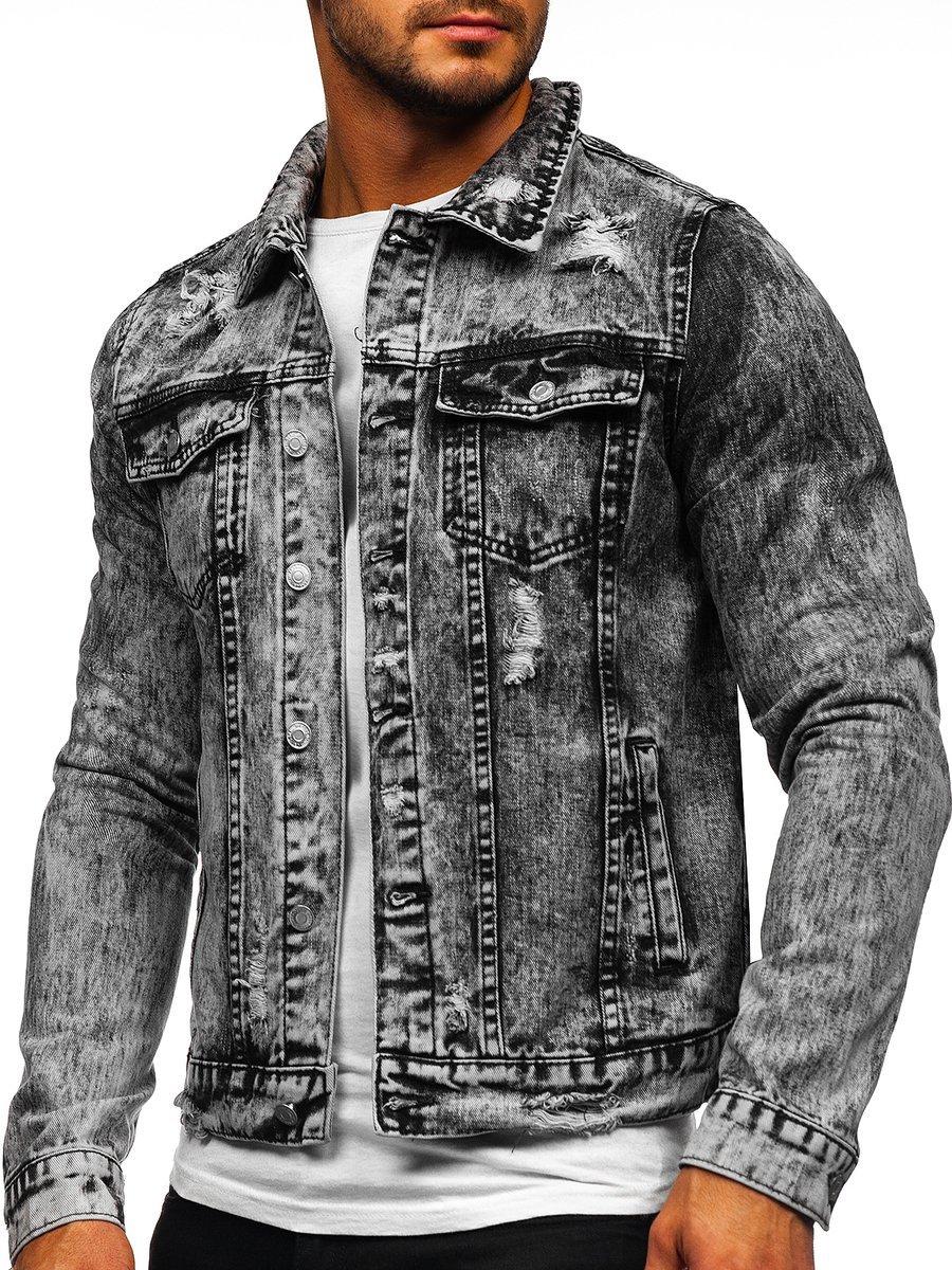 Šedá pánská džínová bunda Bolf AK588