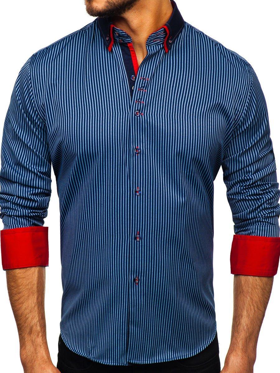 Levně Tmavě modrá pánská proužkovaná košile s dlouhým rukávem Bolf 2751