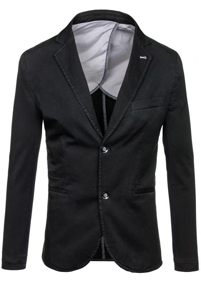 Pánské černé sako casual Bolf 066