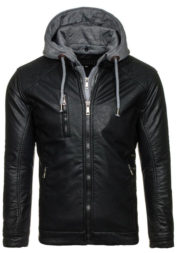 Černá pánská kožená bunda z ekokůže Bolf 3144