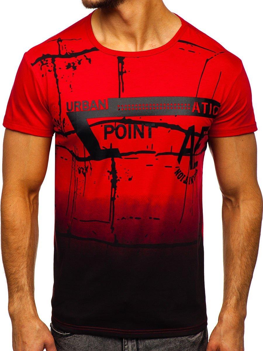 Levně Červené pánské tričko s potiskem Bolf J5028
