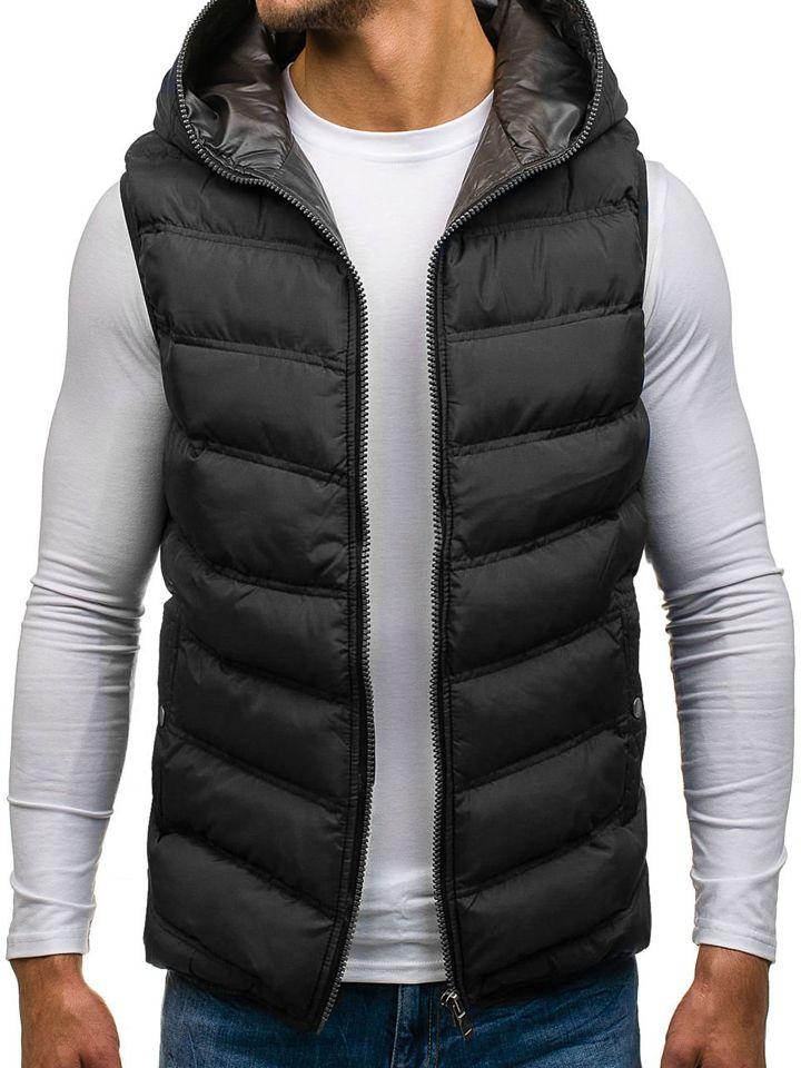Černá pánská prošívaná vesta s kapucí Bolf 1002