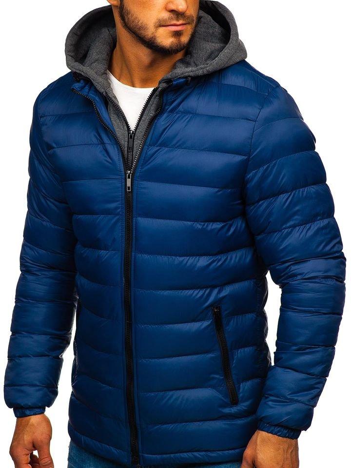 Levně Tmavě modrá pánská prošívaná sportovní zimní bunda Bolf JP1102