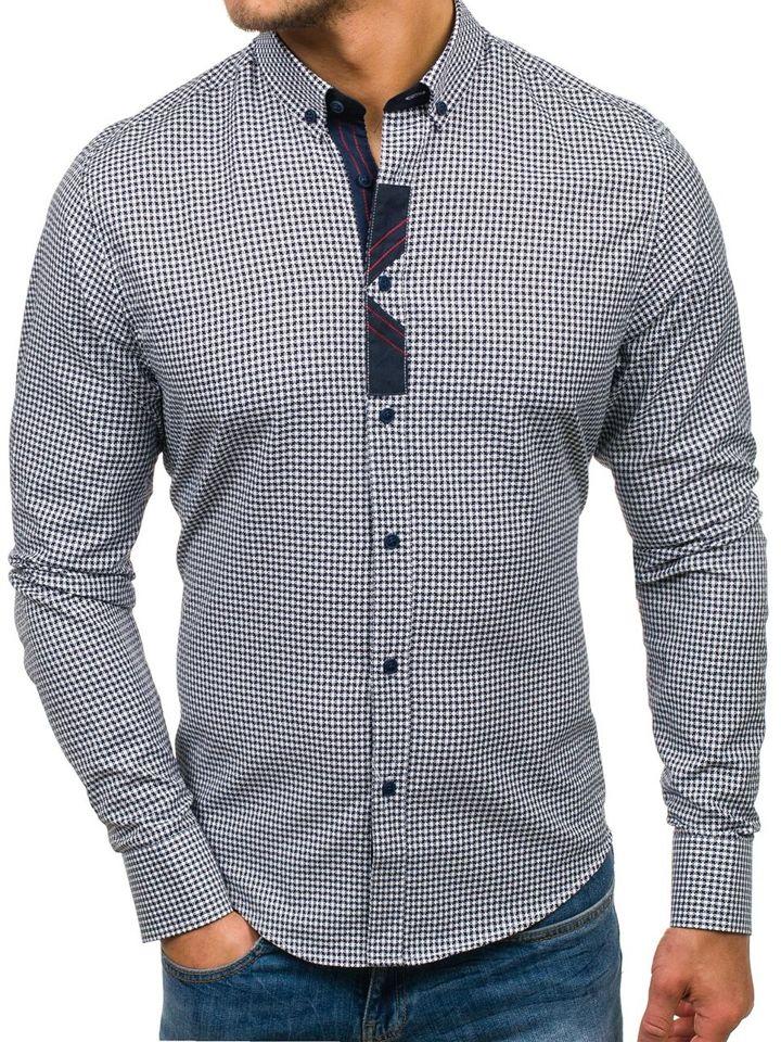 1f0c1f8f2c5 Tmavě modrá pánská vzorovaná košile s dlouhým rukávem Bolf 8810