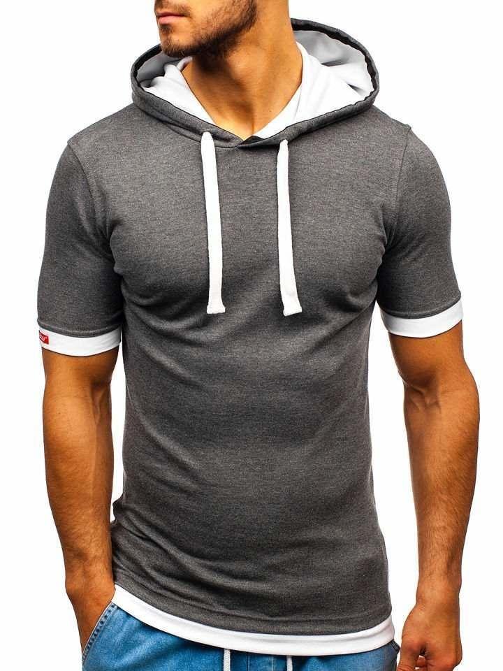 Tmavě šedé pánské tričko s kapucí Bolf 08-1