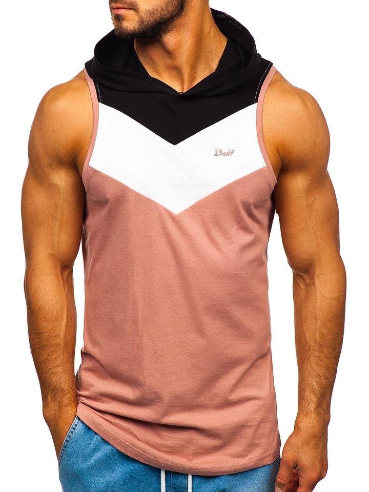 Růžové pánské tričko bez rukávů s kapucí Bolf 1282