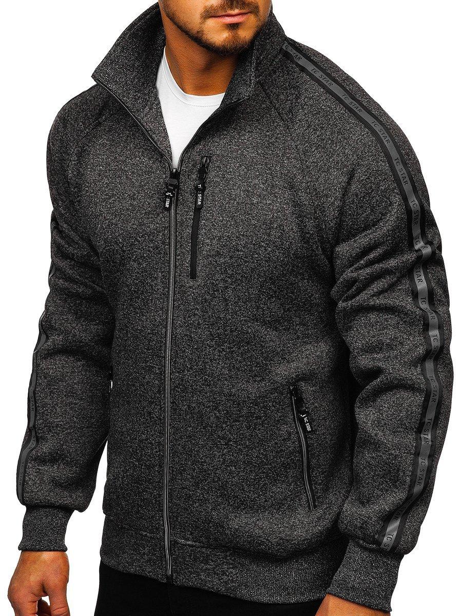 Černá pánská mikina na zip bez kapuce Bolf TC1001