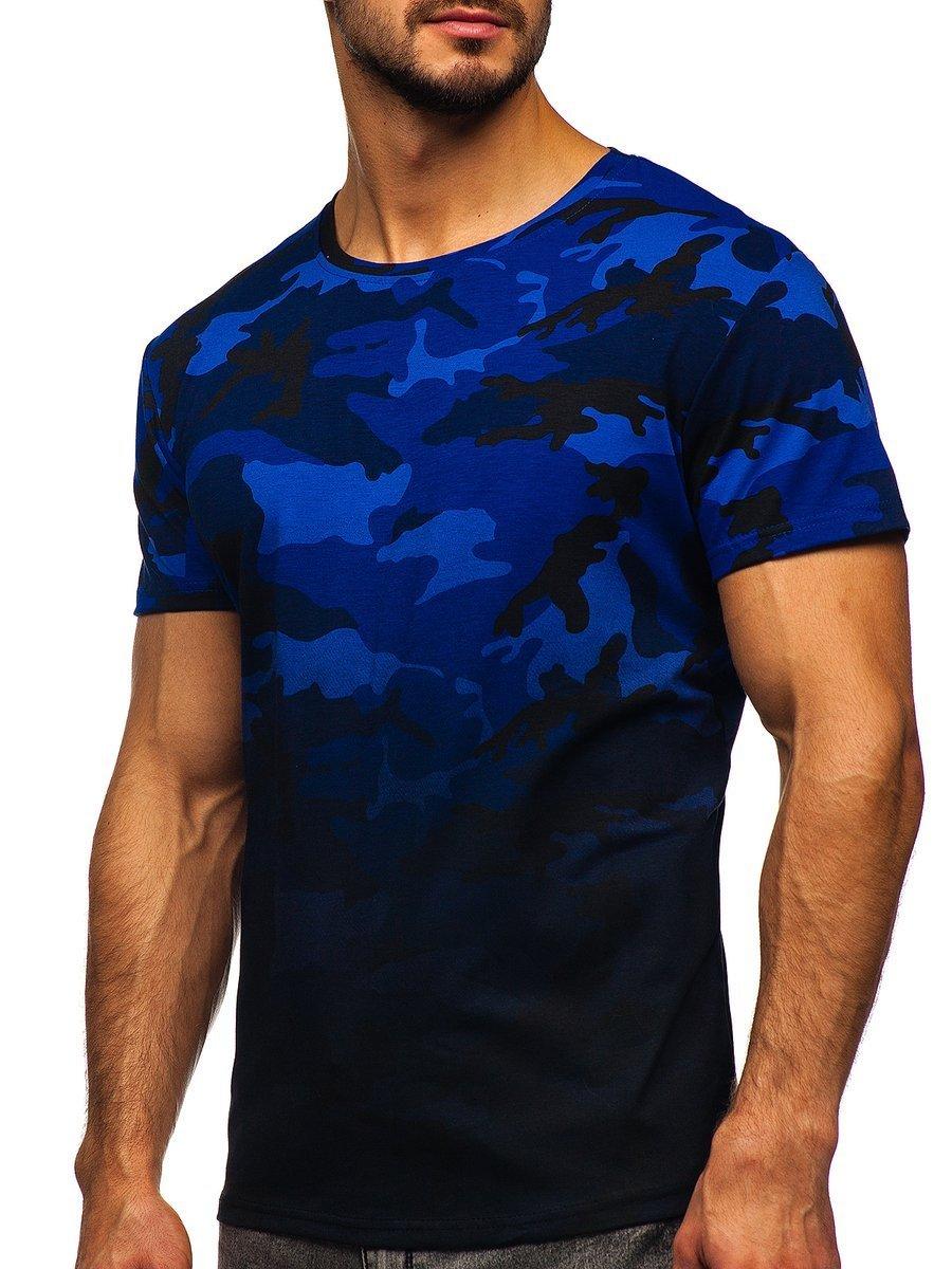 Levně Tmavě modré pánské maskáčové tričko s potiskem Bolf S808