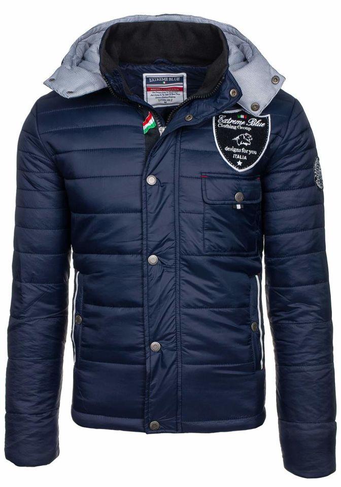 Tmavě modrá pánská zimní bunda Bolf 77