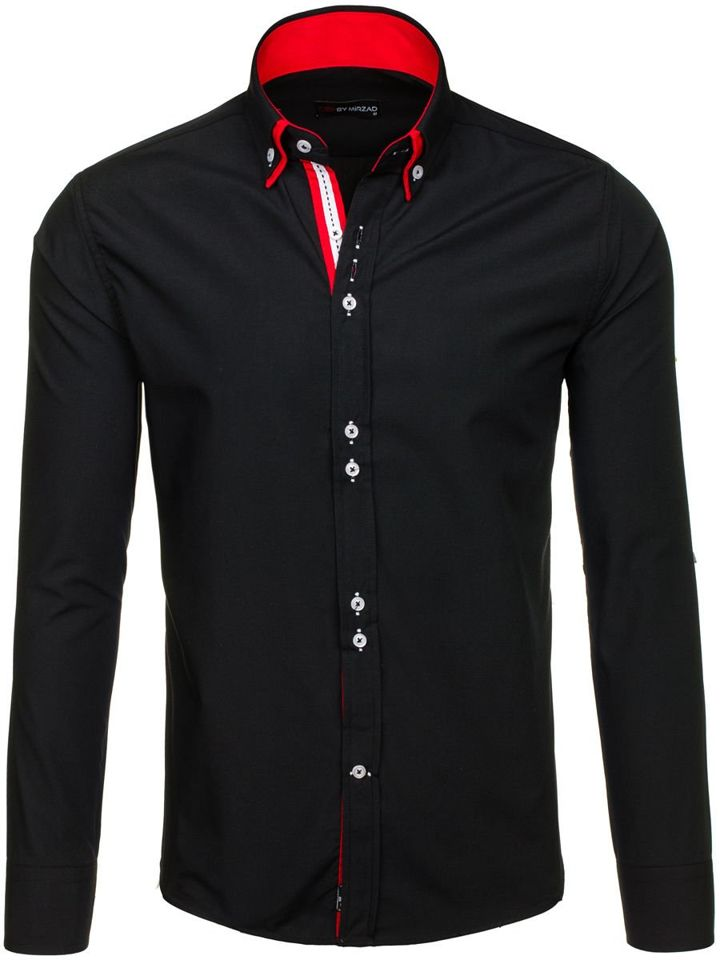 Černo-červená elegantní pánská košile s dlouhým rukávem Bolf 4727-1