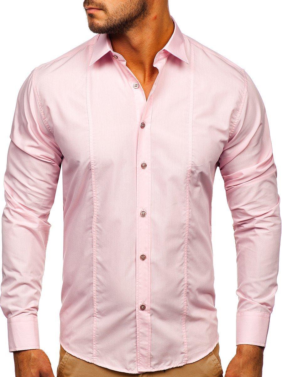 Růžová pánská elegantní košile s dlouhým rukávem Bolf 4705G