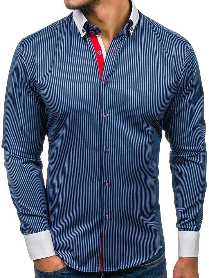 57d2c471691 Tmavě modrá pánská elegantní košile s dlouhým rukávem Bolf 2790