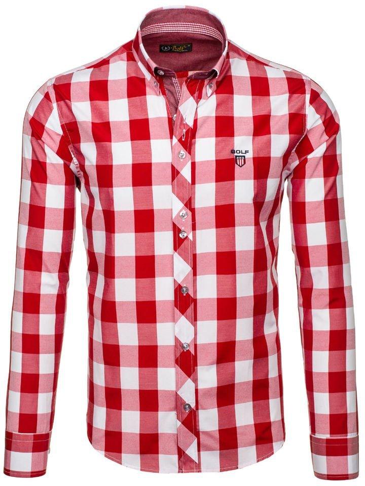 Červená pánská kostkovaná košile s dlouhým rukávem Bolf 6888