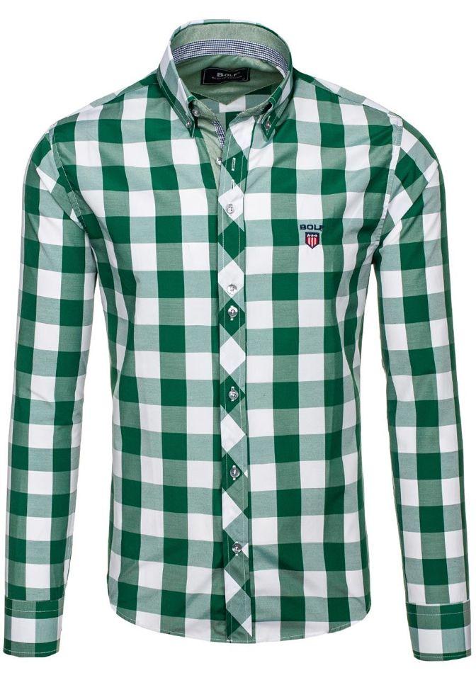 Zelená pánská kostkovaná košile s dlouhým rukávem Bolf 6888