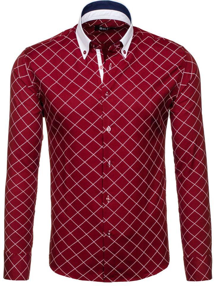 Vínová pánská kostkovaná košile s dlouhým rukávem Bolf 7702