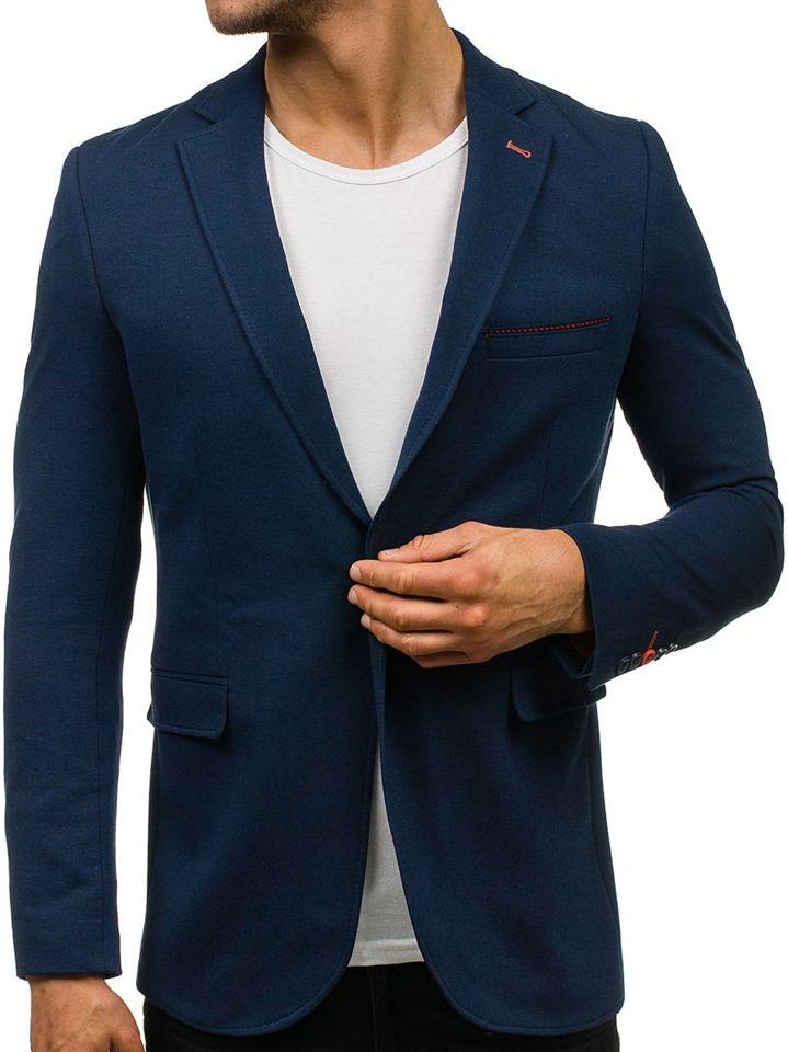 Tmavě modré pánské elegantní sako Bolf 406