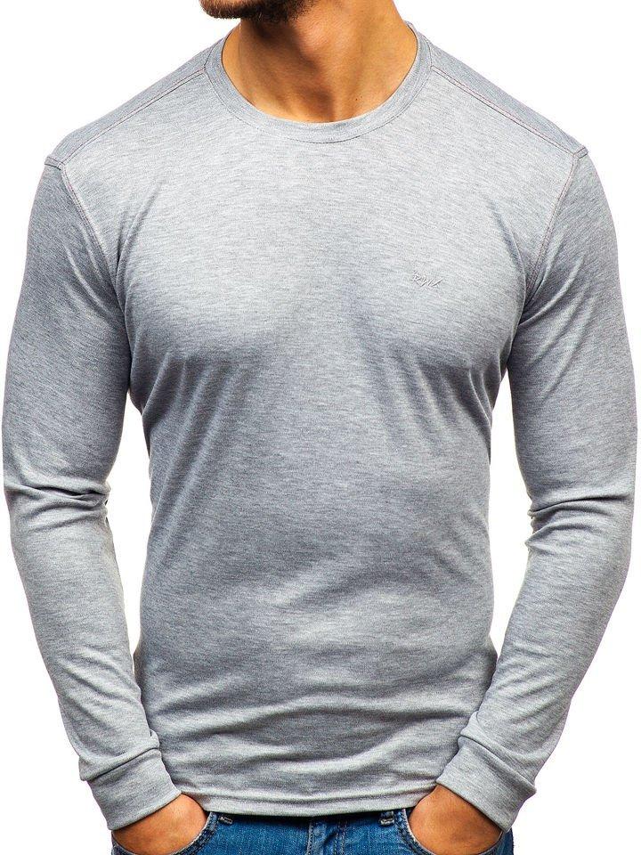 Levně Šedé pánské tričko s dlouhým rukávem bez potisku Bolf 145359