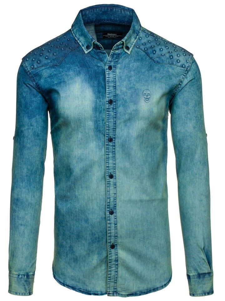 Tmavě modro-šedá pánská džínová košile s dlouhým rukávem Bolf 0540-1