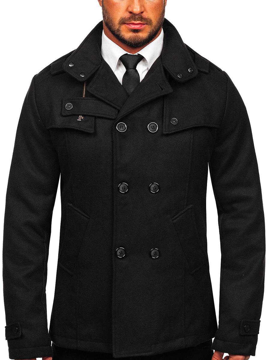 Černý pánský kabát Bolf 8857