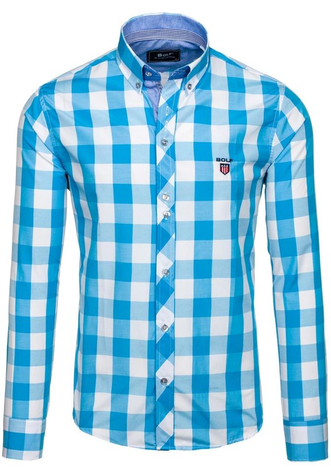Tyrkysová pánská kostkovaná košile s dlouhým rukávem Bolf 6888