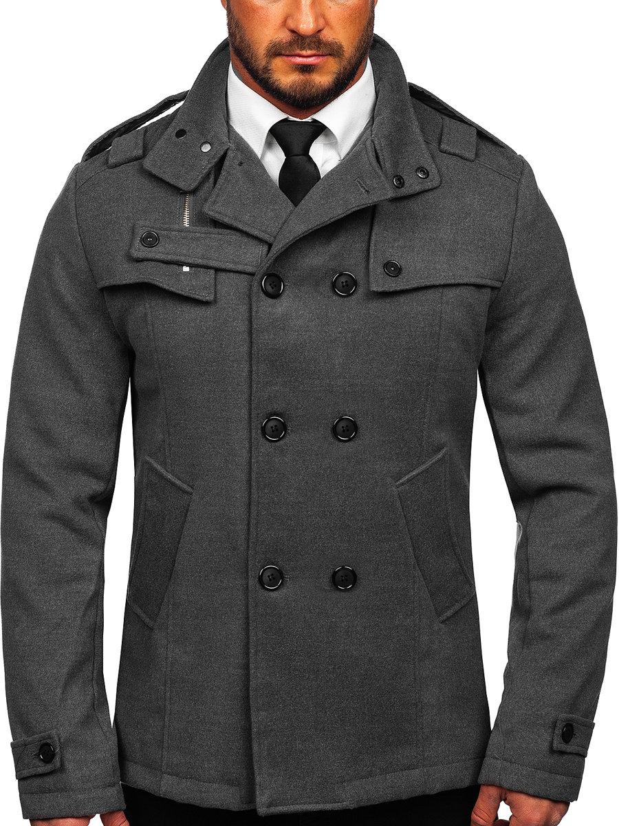 e4a55fed8112 Šedý pánský kabát Bolf 8857