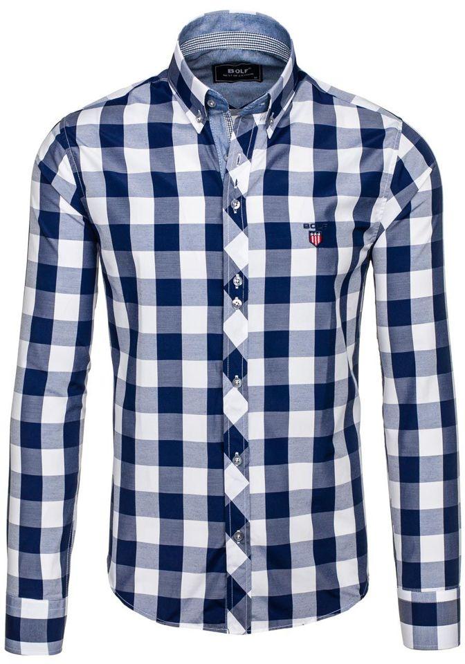 Tmavě modrá pánská kostkovaná košile s dlouhým rukávem Bolf 6888