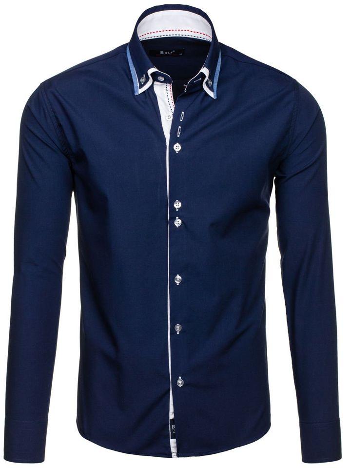 Tmavě modrá pánská elegantní košile s dlouhým rukávem Bolf 6953
