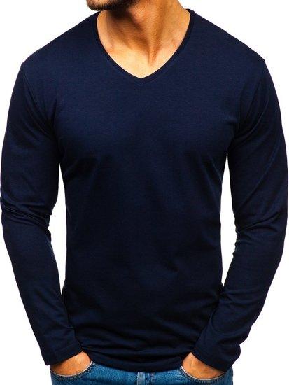 a95b1a60209 Tmavě modré pánské tričko s dlouhým rukávem bez potisku Bolf 172008