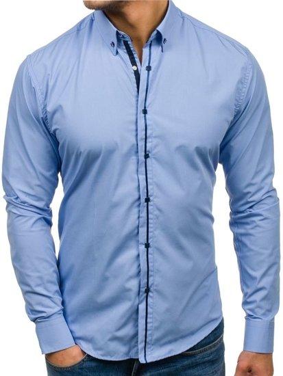 Doporučuješ  Blankytná pánská elegantní košile s dlouhým rukávem Bolf 7726 9c16496c5d