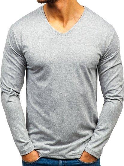 3de3fe35e745 Šedé pánské tričko s dlouhým rukávem bez potisku Bolf 172008